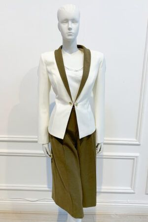 Ivory and khaki cullotte and blazer two-piece