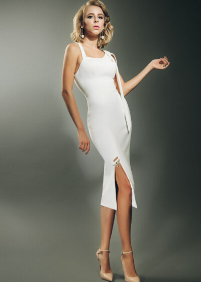 White structured pencil dress with asymmetric detailing, square slit and tie shoulder