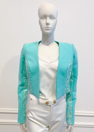 Mint green long sleeved bolero jacket with lace panelling