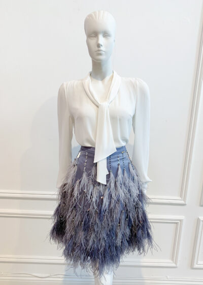 Grey/blue ombre feather mini skirt with jewels