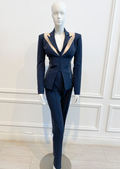 Charcoal shimmer backless cutout trouser suit