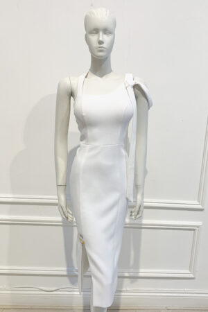 White pencil dress with elegant strap tie detail and wide geometric slit
