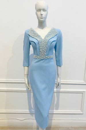 Pale blue pencil dress with V-neck, scoop back and beaded double collar and waistband