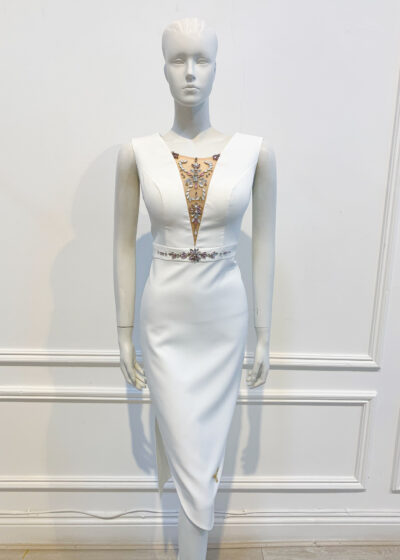 Ivory sleeveless pencil dress with beaded mesh plunge neckline and beaded waistband with v-back