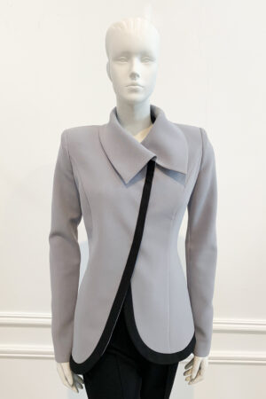 Grey asymmetric collar jacket with black piping