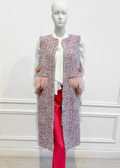 Pink tweed sleevless gilet with matching faux fur and feather pocket detailing
