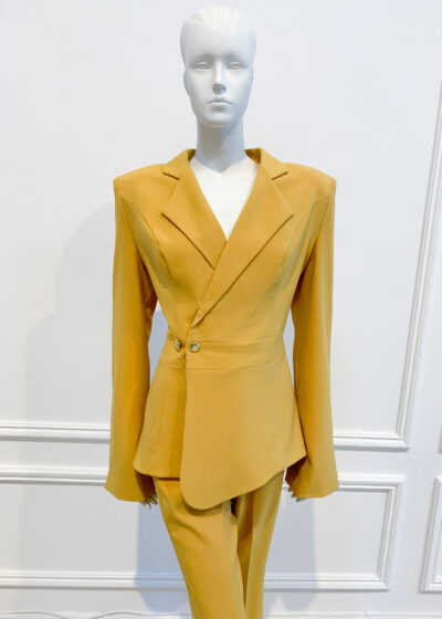 Mustard asymmetric blazer style top