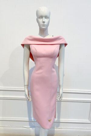 Pale pink asymmetric embellished back cowl pencil dress with slit
