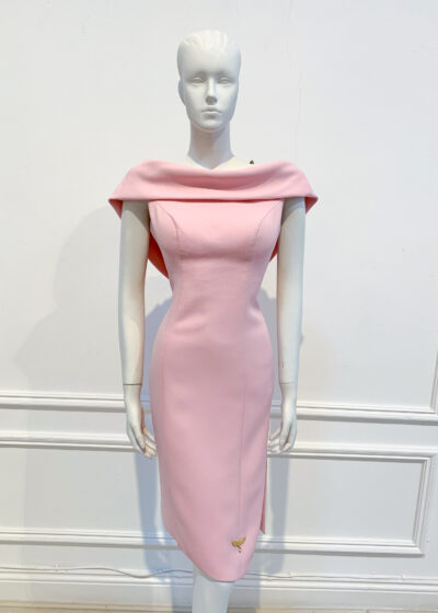 Pale pink asymmetric embellished back cowl pencil dress with slit