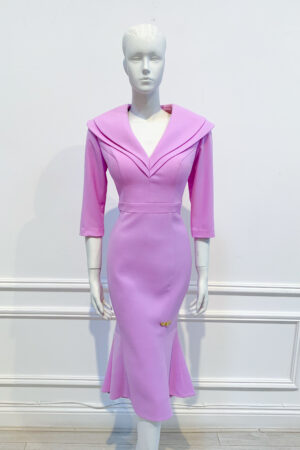 Pink lilac double collar high-low fishtail dress