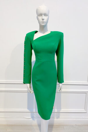 Kelly green pencil dress with asymmetric v neck and slit sleeve with gold bar detailing