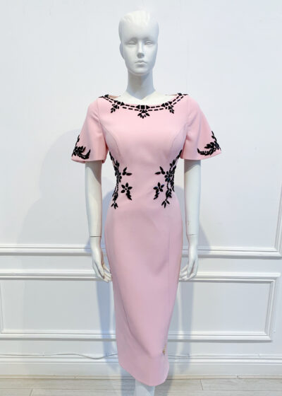 Pale pink pencil dress with blac embellishment