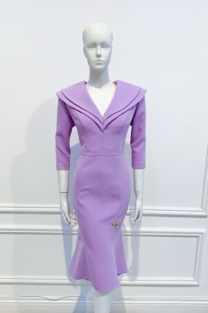 Lilac double collar fishtail dress with high low hemline