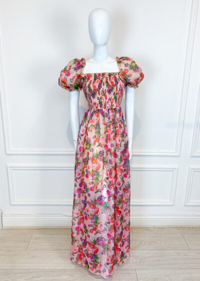 Pink floral chiffon maxi dress with shirred bodice and puff sleeves