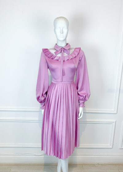 Mauve brushed satin a-line dress with ruffle collar, bow neckline and knife pleated skirt