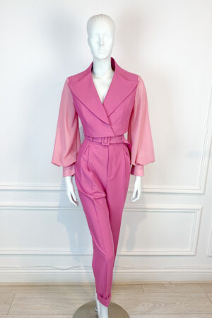 Dusty pink cropped suit with contrast balloon sleeve