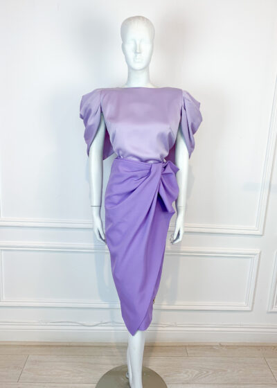 Lilac ruffle pencil skirt and satin blouse