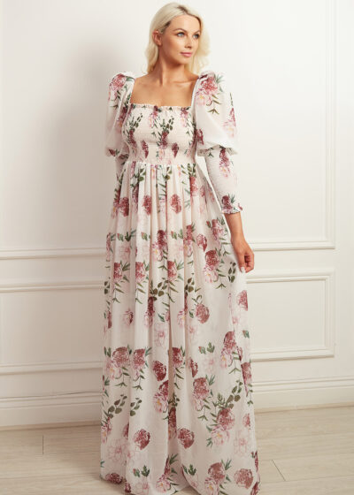 Floral maxi dress with full length puff sleeve and shirred bodice