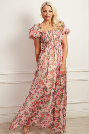 Floral printed puff sleeve maxi dress with shirred bodice