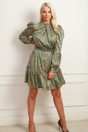 Sage green patterned a-line dress