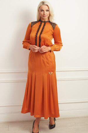 Burnt orange satin midaxi dress with black lace detailing