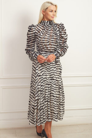 Monochrome printed high neck midaxi dress with pleated skirt