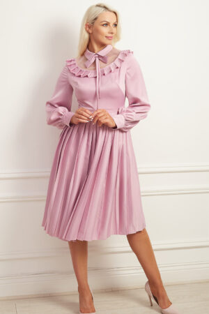 Pale pink balloon sleeved knife-pleated aline dress with high neck and pleated collar detail
