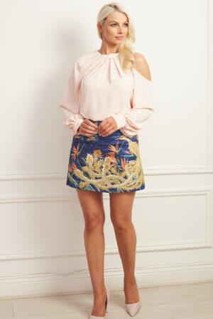 Blue textured printed mini skirt with peach cutout blouse