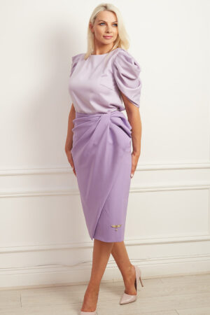 Lilac bow detail pencil skirt with lilac satin tulip shoulder blouse