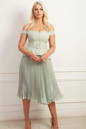 Sage green bardot peplum a-line dress with belt detail and shimmer knife pleated midi skirt