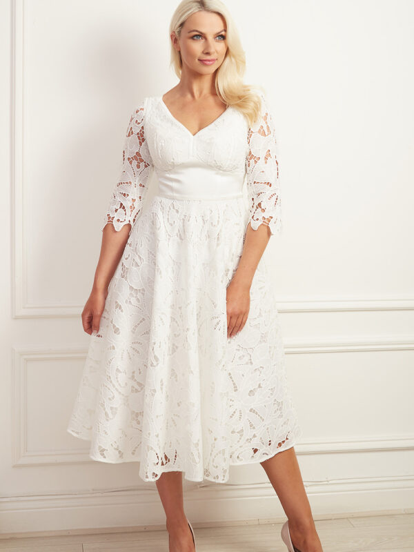 Laser cut ivory lace a-line dress with v-neck and corset belt detail