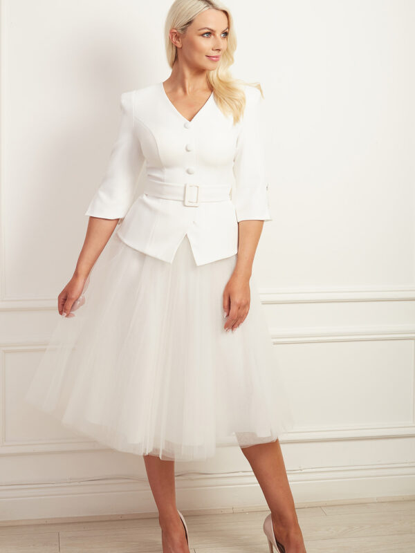Ivory peplum belted top with v-neck and button detail with matching tulle a-line tutu