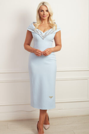 Pale blue pencil dress with bardot collar embellished with silver beading