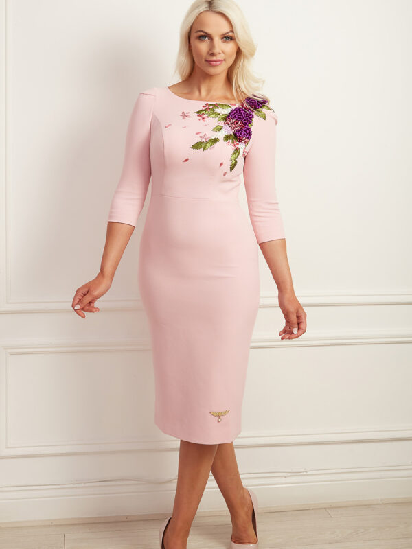Pale pink embroidered pencil dress