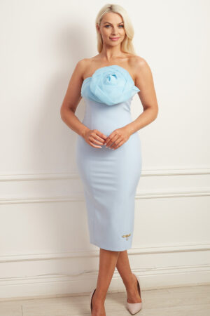 Pale blue strapless pencil dress with elaborate organza rose bodice