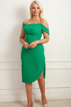 Kelly green bardot pencil dress with asymmetric hem and slit