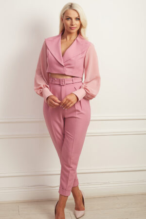 Dusty pink trouser suit with cropped blazer and chiffon balloon sleeve