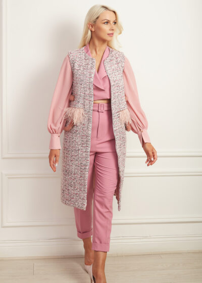 Pink tweed sleeveless gilet with matching fur and feather detailing