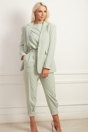 Sage green three piece trouser suit