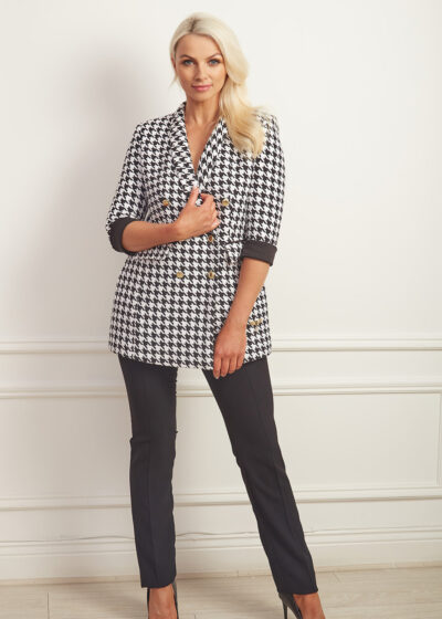 Black and white houndstooth double breasted blazer with cropped sleeve