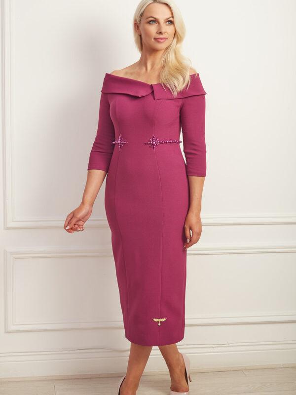 Magenta oversized collar bardot pencil dress with matching magenta beading