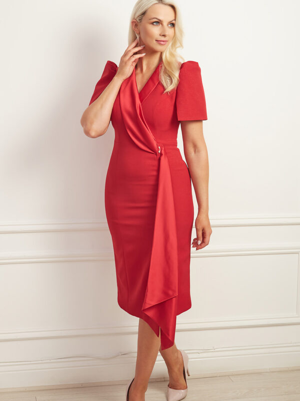 Red asymmetric tuxedo dress with puff shoulder and satin sash