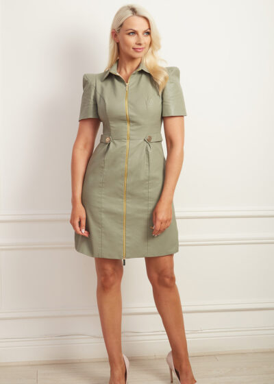 Sage green faux leather a-line dress with gold hardware