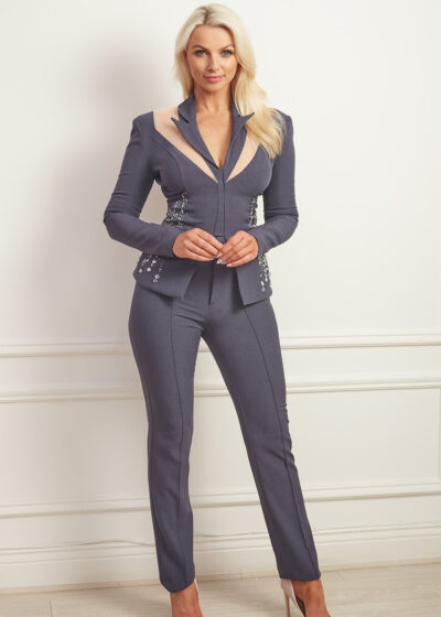 Charcoal grey beaded trouser suit with open back detail