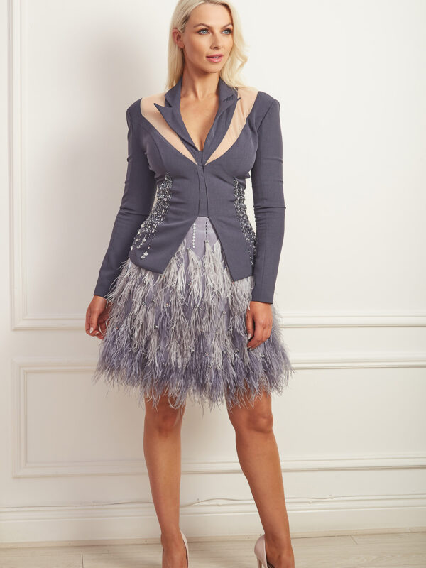 Charcoal grey ombre feather a-line skirt
