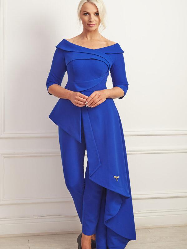 Cobalt blue asymmetric bardot jumpsuit gown