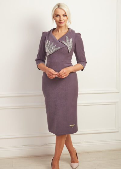 Charcoal grey pencil dress with oversized collar with intricate silver beading