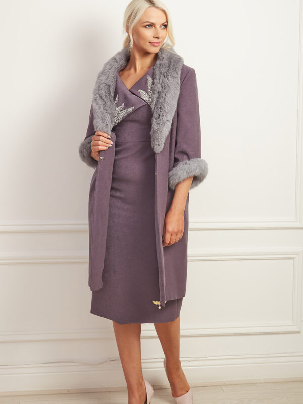 Charcoal grey coat with grey fur collar and cuffs