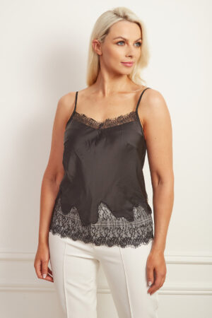 Black satin camisole with lace detailing