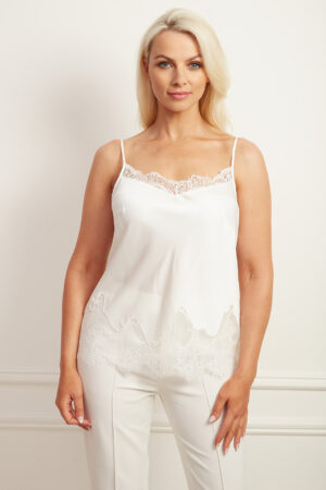 Ivory satin camisole with lace detailing